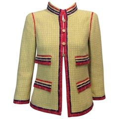 Chanel Yellow Tweed Jacket w/ Red and Purple Trim And Gold Buttons Sz34, Us2