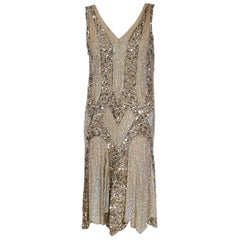 1920's French Couture Champagne Golden Beaded Sequin Art Deco Flapper Dress