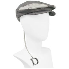Christian Dior Leather & Check Newsboy Cap