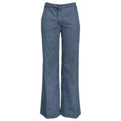 Balenciaga 2002 Blue & Black Denim Stripe Pants