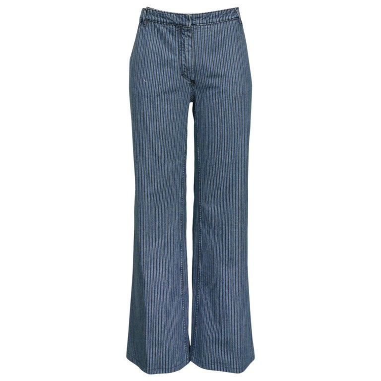 Balenciaga 2002 Blue & Black Denim Stripe Pants