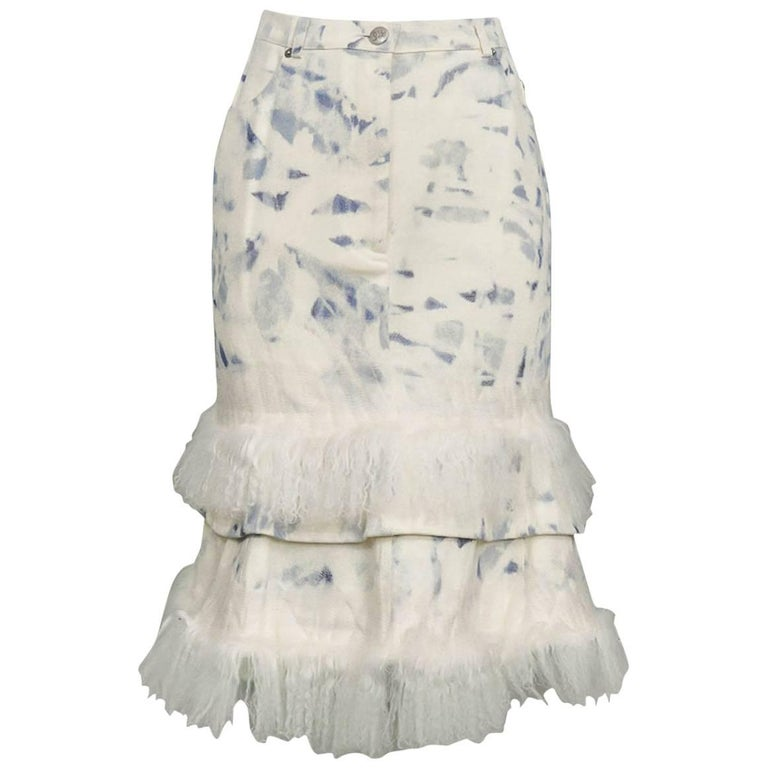 John Galliano Acid Wash Denim & Mongolian Fur Skirt