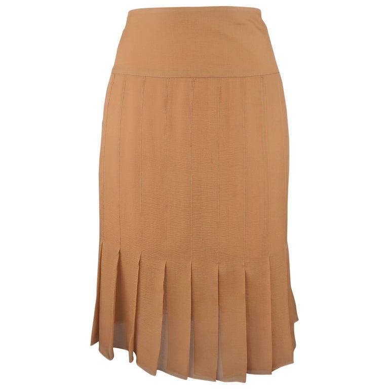 CHANEL Size 8 Tan Silk Chiffon Pleated Pencil Skirt