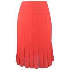 CHANEL Size 8 Red Silk Chiffon Pleated Pencil Skirt