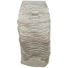 YVES SAINT LAURENT Size 10 Gray Metallic Silver Snake Silk Pencil Skirt