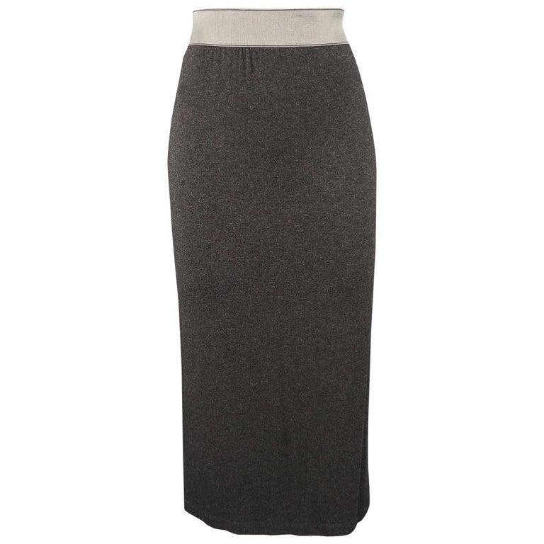 DONNA KARAN Size M Charcoal Jersey Silver Waistband Pencil Skirt