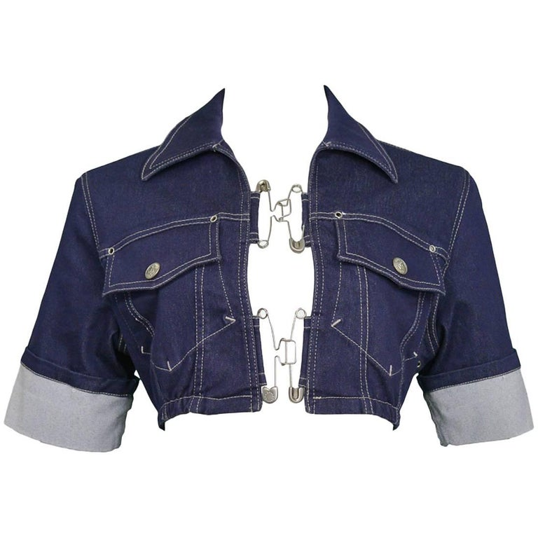 Jean Paul Gaultier Denim and Safety Pin Crop Top at 1stdibs 58dd2e5a0
