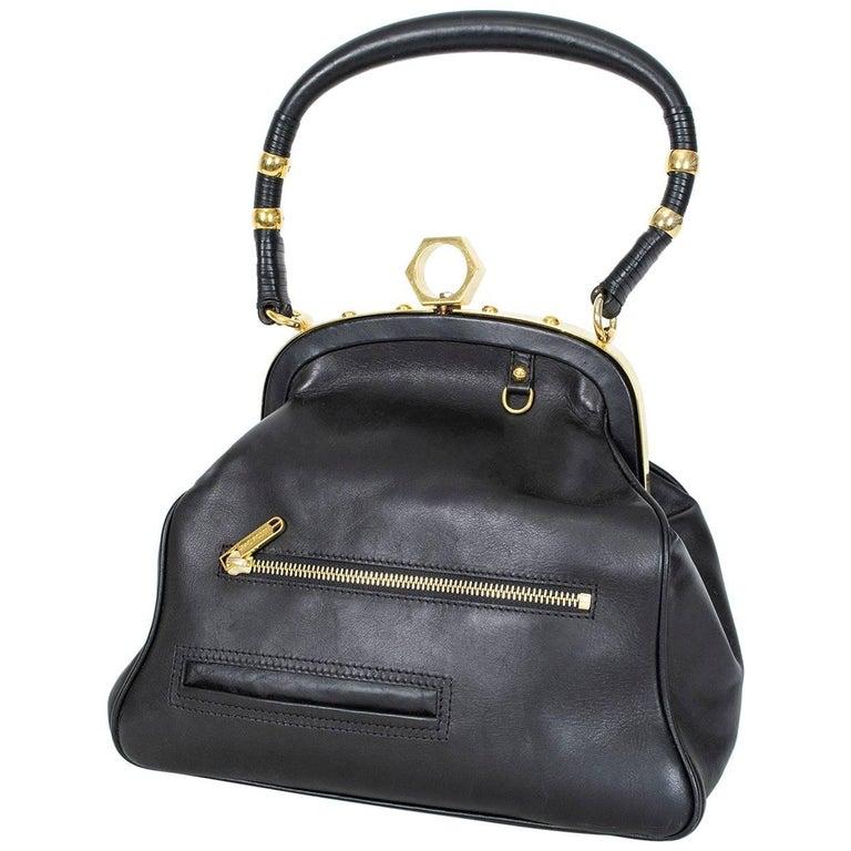 Zac Posen Black Alexia Top Handle Bag with Gold Hardware, 21st Century