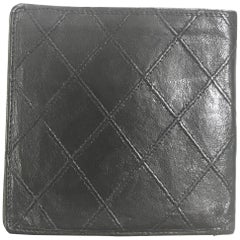 Vintage CHANEL black calfskin square stitched wallet, bill, card case. Unisex.