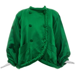 Yves Saint Laurent Rive Gauche Emerald Silk Satin Evening Jacket, Circa 1980's