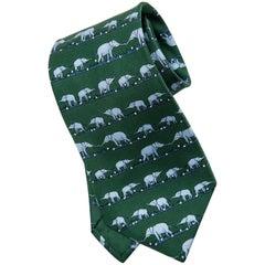 Hermes Men's Emerald Green Silk Twill Tie With Blue Elephants, Circa 1990's