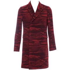 Kenzo Men's Runway Wool Red Cloud Print Coat, Fall 2013