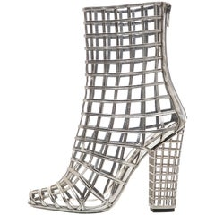 Yves Saint Laurent Silver Metallic Leather Caged Ankle Boots, Spring 2009