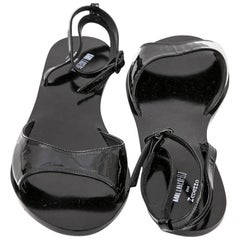 KARL LAGERFELD for REPETTO Sandals in Black Patent Leather Size 40FR