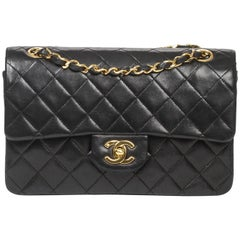 CHANEL Classic Double Flap Leather Black 23cm