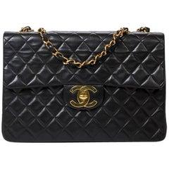 Chanel Jumbo Maxi Black Leather 34cm