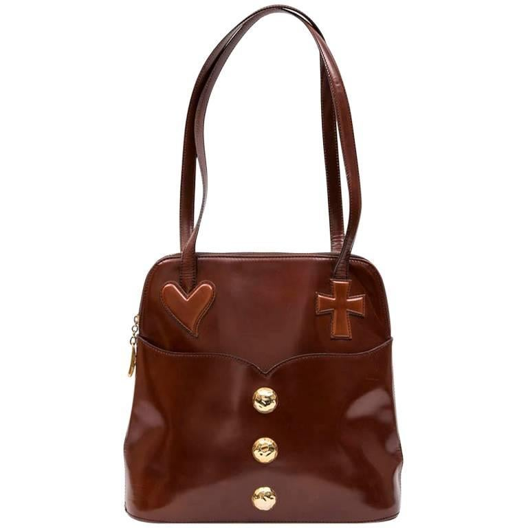 CHRISTIAN LACROIX Vintage Bag in Smooth Tawny Leather
