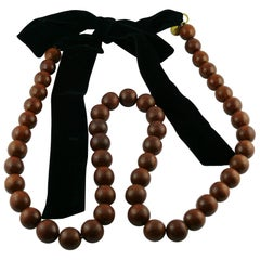 Yves Saint Laurent YSL Wood Bead and Black Velvet Necklace