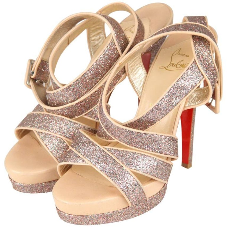 CHRISTIAN LOUBOUTIN Silver Glitter and Nude Leather Straratata Sandals 36