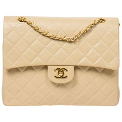 Chanel Tall Double Flap Beige Leather