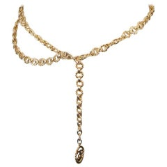 CHANEL Vintage Gold Metal RING Chain Necklace or Belt CC Pendant