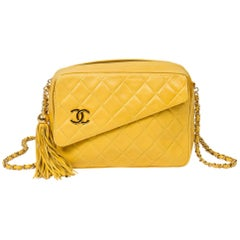 Chanel Vintage Zip Tassel Yellow Leather Bag