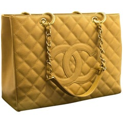 Chanel Caviar GST 13 Inch Beige Grand Shopping Tote Chain Shoulder Bag