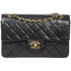 Chanel Classic Double Flap Black Leather Bag
