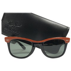 New Ray Ban The Wayfarer Orange Leather G15 Grey Lenses USA 80's Sunglasses