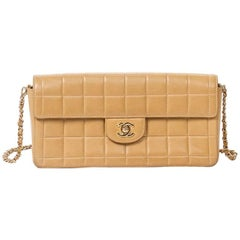 Chanel East West Flap Beige Leather Bag