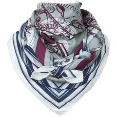 Hermès Cotton Silk Scarf Carré Men Imprimeur Fou Couvertures Ex Libris 90cm RARE