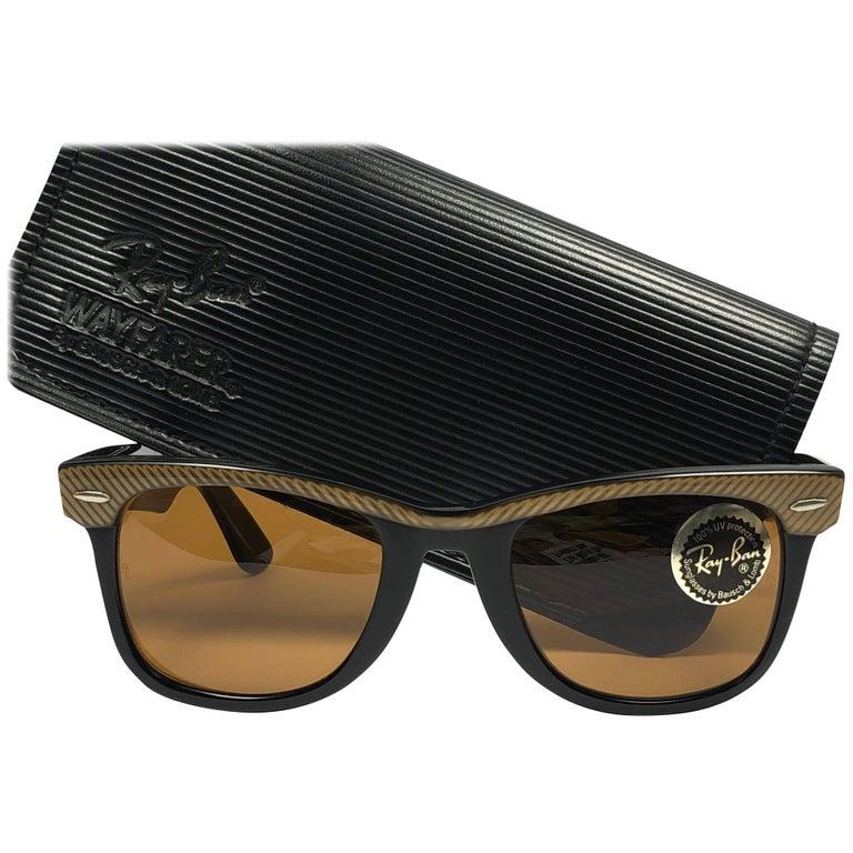 New Ray Ban The Wayfarer Classic Copper   Black Amber Lenses USA 80 s  Sunglasses ... 4ae89b9512b1e