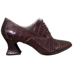 Susan Bennis Warren Edwards Vintage Brown Alligator Pumps