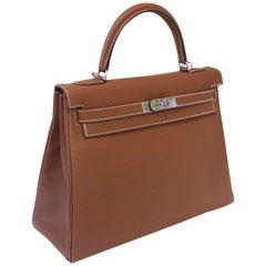 Hermes Bag Kelly 32 Gold Togo PHW New