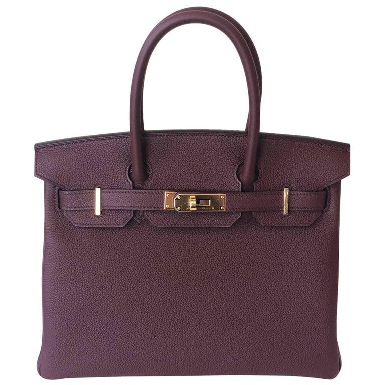 Hermes Bordeaux Togo Gold Hardware Birkin 30 Bag