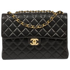 Chanel Jumbo Small Turnlock Black Leather Bag