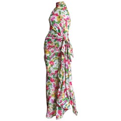 1980s Valentino Boutique Silk Flower Maxi Dress