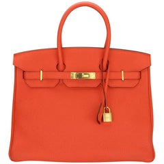 Hermès 35cm Orange Togo Leather with Gold Hardware Stamp T Year 2015 Birkin Bag