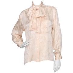 Yves Saint Laurent Rive Gauche Vintage Jacquard Woven Silk Blouse, 1980s