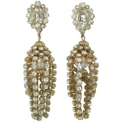 Rhinestone and Faux Pearl Chandelier Earrings, circa 1960