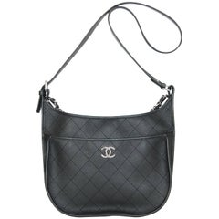 Chanel 2018 Black Metallic Quilted Leather Hobo Messenger Bag w. Receipt rt. $4K