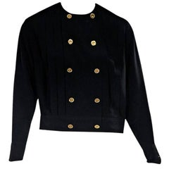 Black Vintage Chanel Double-Breasted Blouse