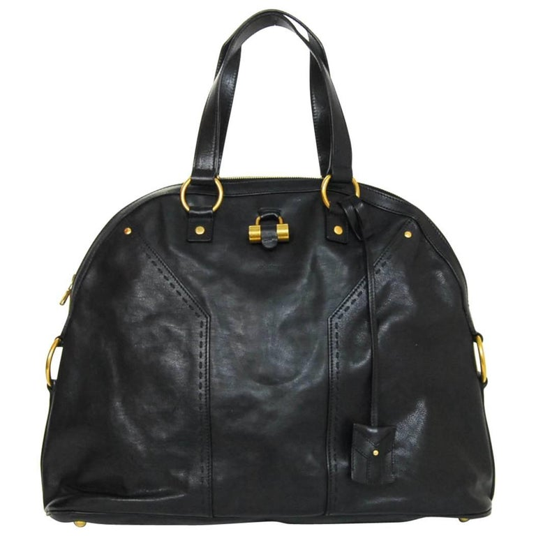 4f1b72a8ccc YSL Yves Saint Laurent Black Leather Oversized Muse Tote Bag For Sale