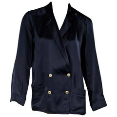 Navy Blue Vintage Chanel Silk Blouse