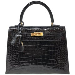 Hermes Sac Kelly 25 Black Shiny Alligator Crocodile Leather Vintage Bag , 1999