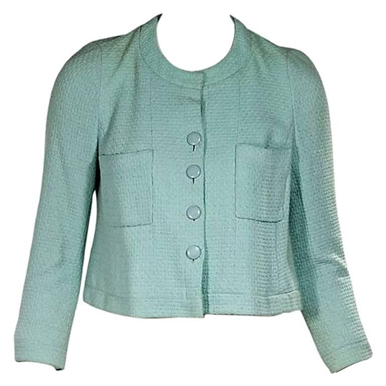 Teal Vintage Chanel Cropped Button-Front Jacket