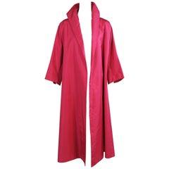Hattie Carnegie 1950's Shocking Pink Silk Swing Coat