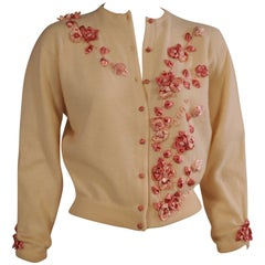 1950's Estelle Parker Cashmere Sweater with Silk Ribbon Flowers
