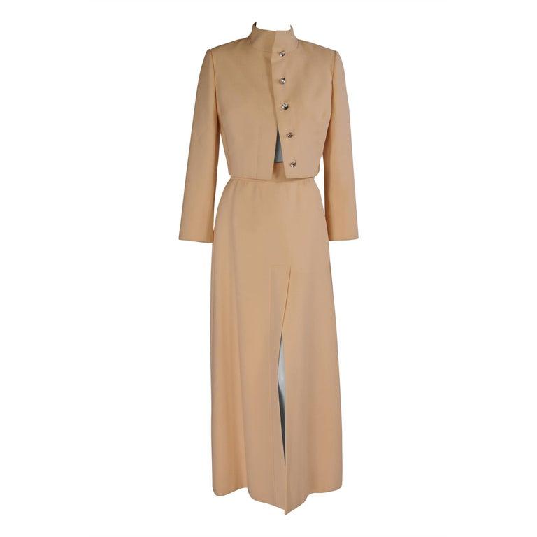 Pauline Trigere Cream Wool Crepe Evening Suit
