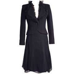 Chanel Midnight Blue Tweed and Tulle Jacket and Tulle Skirt Suit
